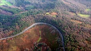 Aerial shot of the old A3 and Devil's Punch Bowl