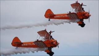 The Breitling Wingwalkers at the Southend Air Festival 2011