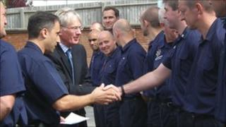 The Duke of Gloucester meets firefighters at Gloucester Fire Station