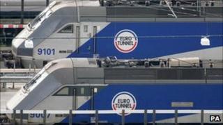 Eurotunnel trains in Folkestone, Kent