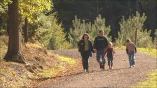 Family walking in the Wyre Forest. Photo: Forestry Commission