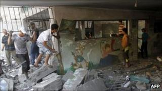 Bombed sporting club in Beit Lahia, 25 August