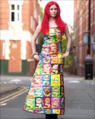 A model wearing Rebekah Kirkland's empty crisp packet dress