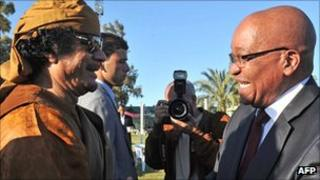 Muammar Gaddafi with Jacob Zuma