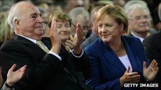 Helmut Kohl and Angela Merkel, 1/10/10