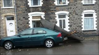 Part of a roof landed in Crown Street, Crumlin Photo: Steve Lashbrook