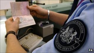 A passport being checked