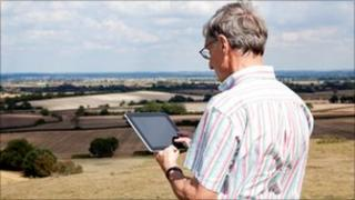 Farmer using an iPad