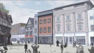 Artist's impression of rebuilt shop in High Town Hereford