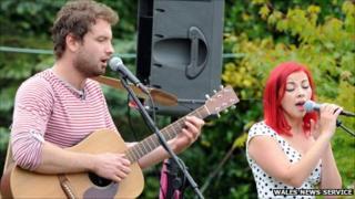 Charlotte Church performs with boyfriend Jonathan Powell