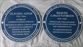 Plaques for Claudia Jones and Rhaune Laslett O'Brien
