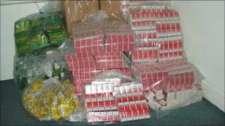 Seized illegal tobacco
