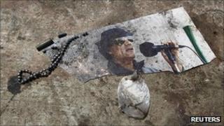 Picture of Muammar Gaddafi in the Bab al-Aziziya compound, Tripoli, 25 August 2011