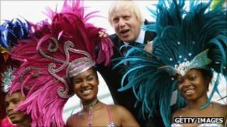 Boris Johnson with Notting Hill Carnival mas band Genesis