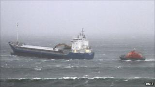 Thurso lifeboat and cargo vessel Norholm