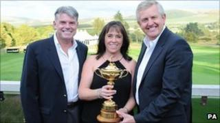 Dave Cormack, Fiona Cormack and golfer Colin Montgomerie, with the Ryder Cup