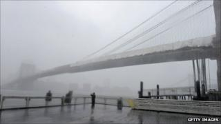 Brooklyn Bridge, as Irene stormed