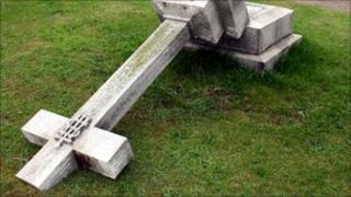Vandalised headstone in Elgin