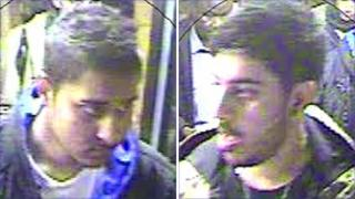Two men police believe were involved in an attack on a man on a bus in Manchester