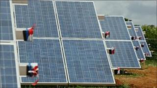 Solar panels at Slepe Farm