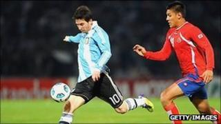 Lionel Messi of Argentina in action during the 2011 Copa America against Costa Rico