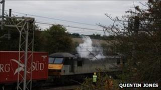 Freight train on fire near Milton Keynes. Pic courtesy Quentin Jones
