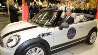David Cameron in the two millionth Mini