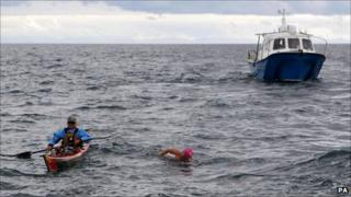 Nikki Fraser from Penistone, during her stint, 30 miles into the The Swim