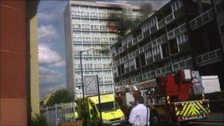 The fire at Lakanal House in Camberwell in July 2009