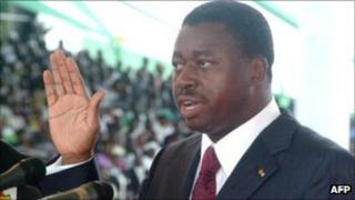 Faure Gnassingbe taking the oath of office in 2010