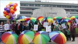 Wakeman pupils protesting at Shire Hall