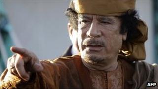 Col Muammar Gaddafi in Libya (10 April 2011)