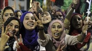 Libyan women celebrate in Martyrs' Square, Tripoli