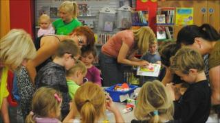 Children at a pre-school story time session at Barry Library