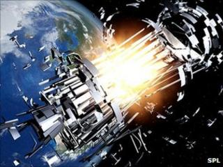 Artist's impression of a space collision