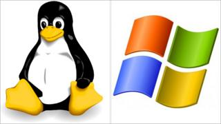 Linux and Microsoft logos