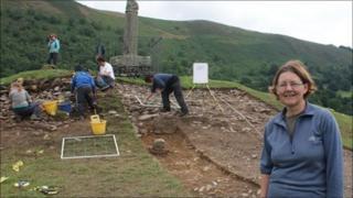 Professor Nancy Edwards from Bangor University at the site of the Pillar of Eliseg near Llangollen