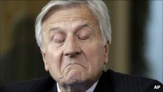 European Central Bank chief Jean-Claude Trichet grimaces during the economic forum in Cernobbio, Italy, 3 September