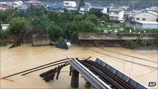 Storm-damaged bridge over the Nachi River in Nachikatsuura town, Wakayama prefecture, central Japan, on 4 September 2011