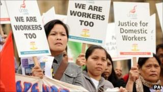 Domestic workers demonstrate in Westminster