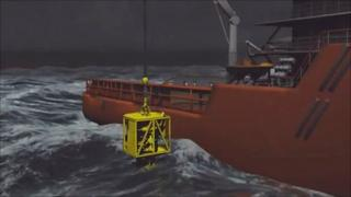 Animation of cap being lowered into sea