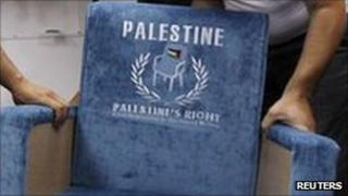 "Chair embossed with ""Palestine"" and the UN symbol"