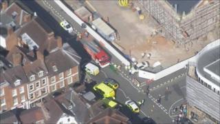 The scene of the crash in Shrewsbury. Photo: Midlands Air Ambulance
