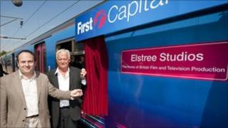 Councillor Morris Bright, Leader of Hertsmere Borough Council and Roger Morris, Elstree Studios Managing Director at the unveiling of the plaque.