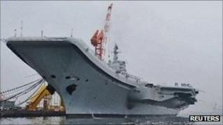 China's first aircraft carrier, pictured in Dalian on 27 July 2011