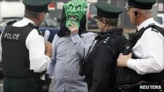 Man with mask outside Belfast court
