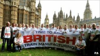 Bombardier workers outside Parliament
