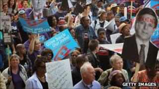 People protesting against job losses