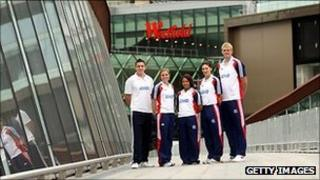 GB athletes Bobby White (Handball), Kate Walsh (hockey), Zoe Smith (weightlifting), Sarah Stevenson (Taekwondo) and Dan Clark (Basketball) at Westfield Stratford, close to the Olympic Stadium
