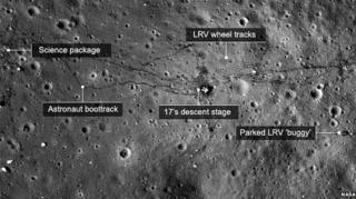 Tracks from the space probe visible on the surface of the Moon.